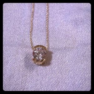Gold and simulated diamond necklace